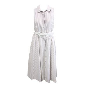 Jones New York Beige Striped Belted Shirtdress 14